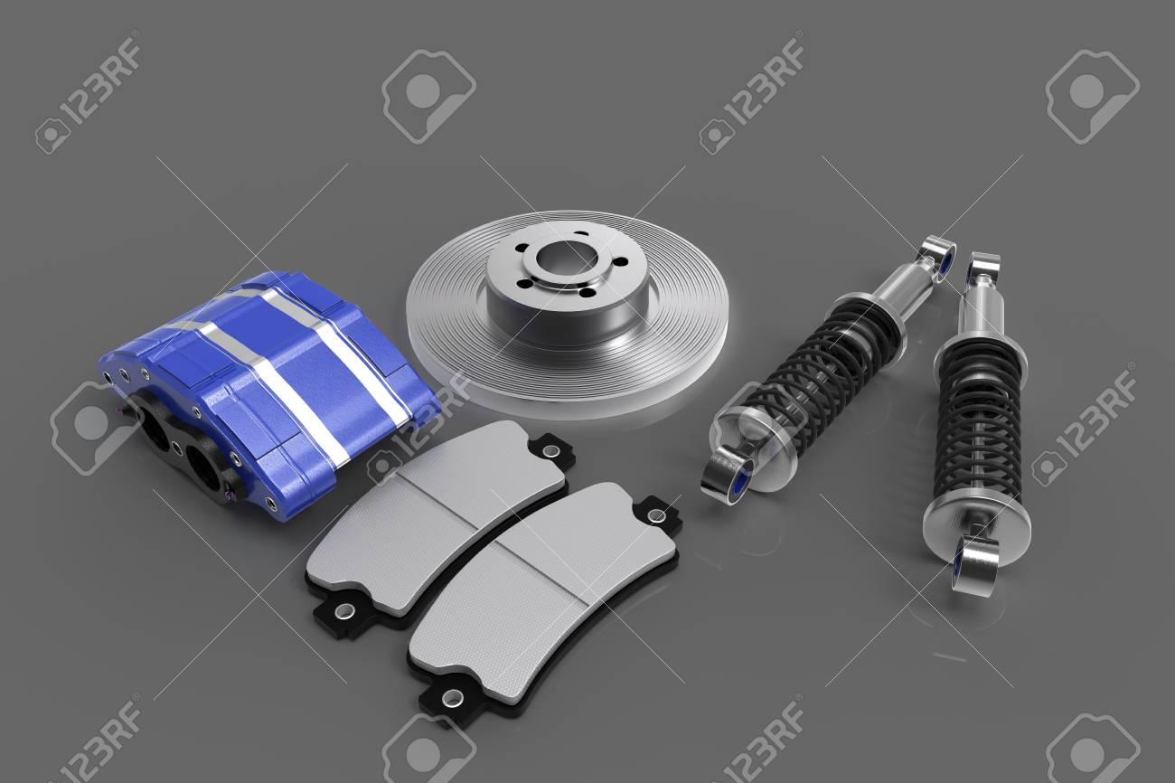 Disk brake. Brake system in parts. Car parts. 3D rendering. Stock Photo - 73476498