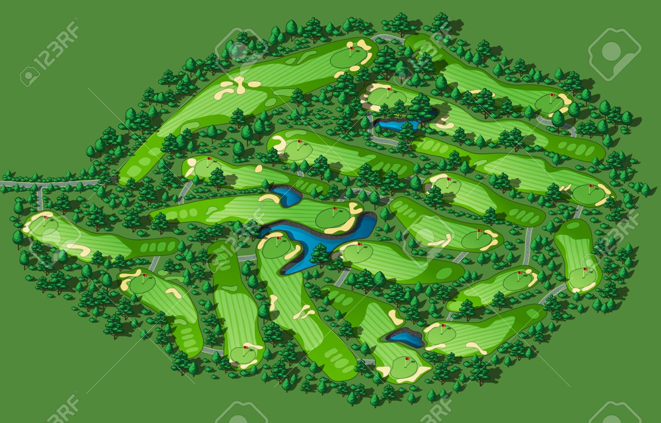 Golf course layout with flags trees plants water hazards. Vector map isometric illustration - 39118782