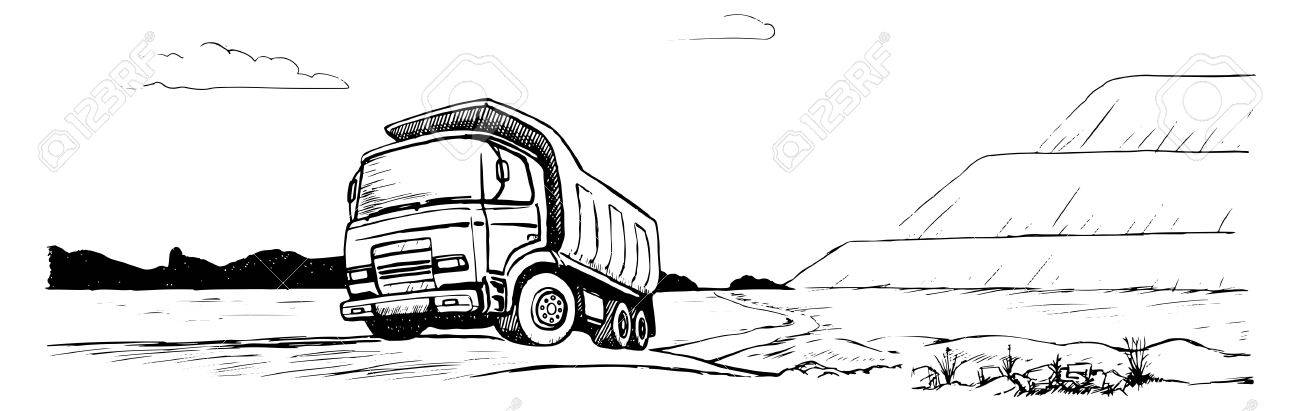 Dump Truck Tipper Black And White Sketch Stock Vector