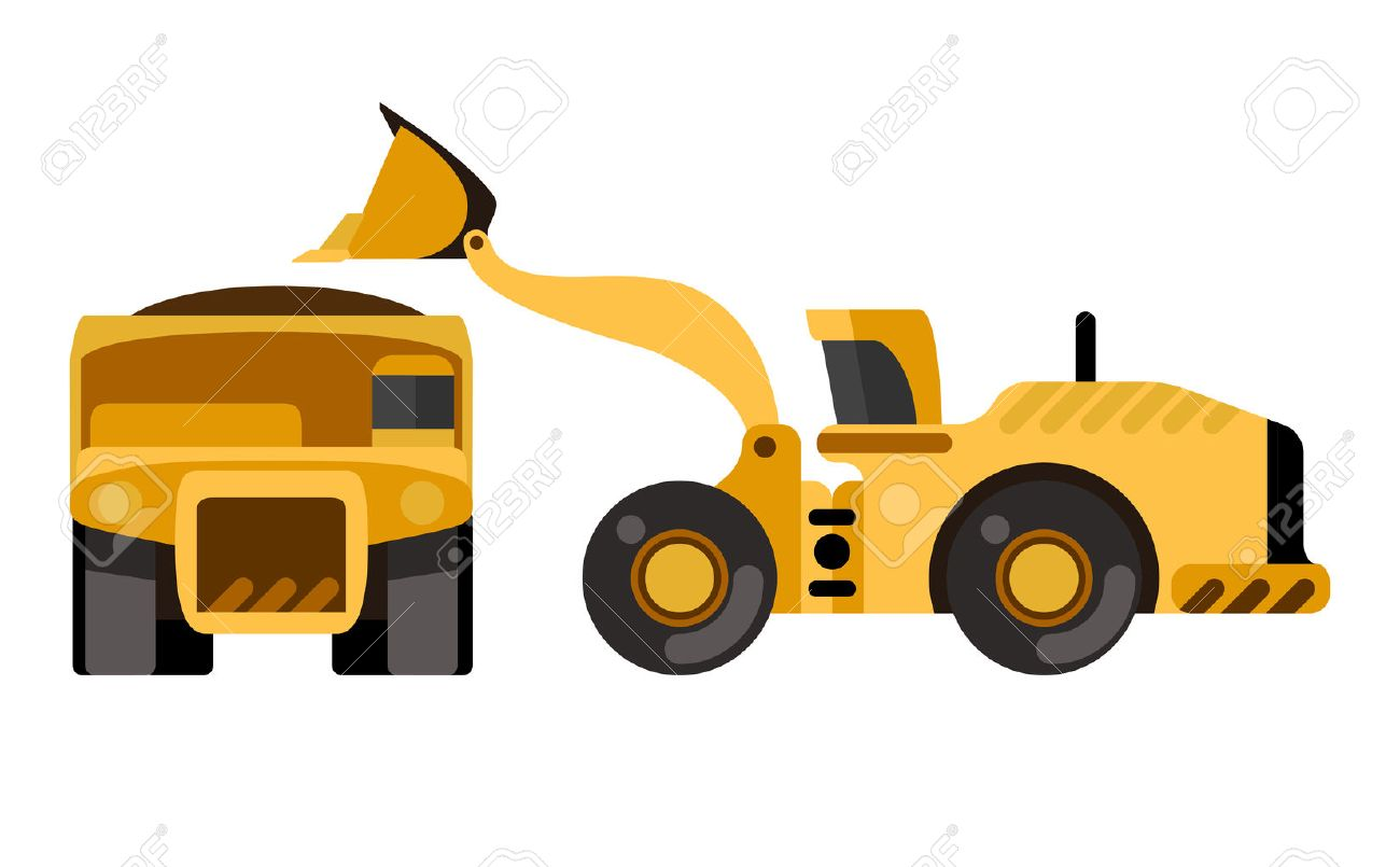 Mining dump truck loading by wheel loader flat style icon isolated vector illustration stock