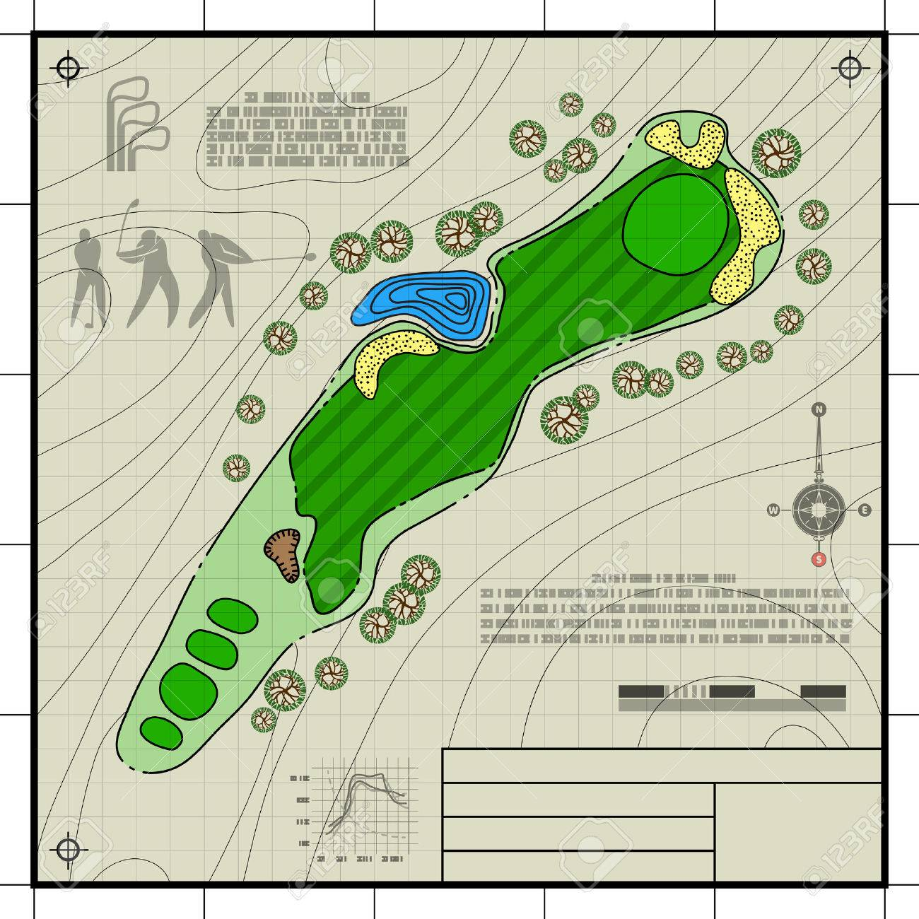 Golf course layout abstract design stylized blueprint technical abstract design stylized blueprint technical drawing background stock vector 42894747 malvernweather Gallery