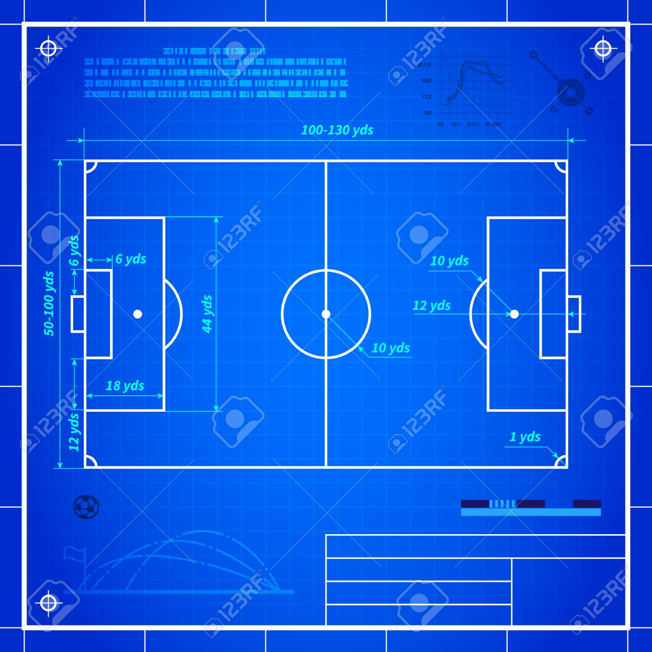 Soccer Or Football Field Measurements Blueprint Technical Drawing Royalty Free Cliparts Vectors And Stock Illustration Image 43542081