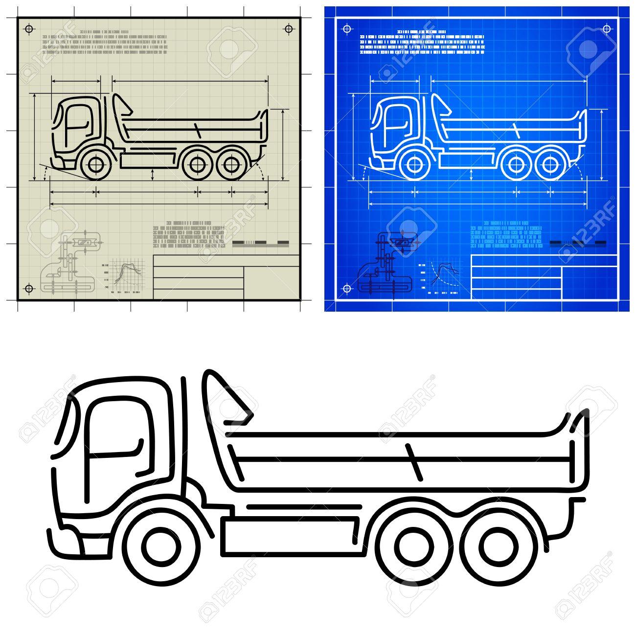 Lorry Tipper Dump Truck Modern Outline Stylized Blueprint Technical ...