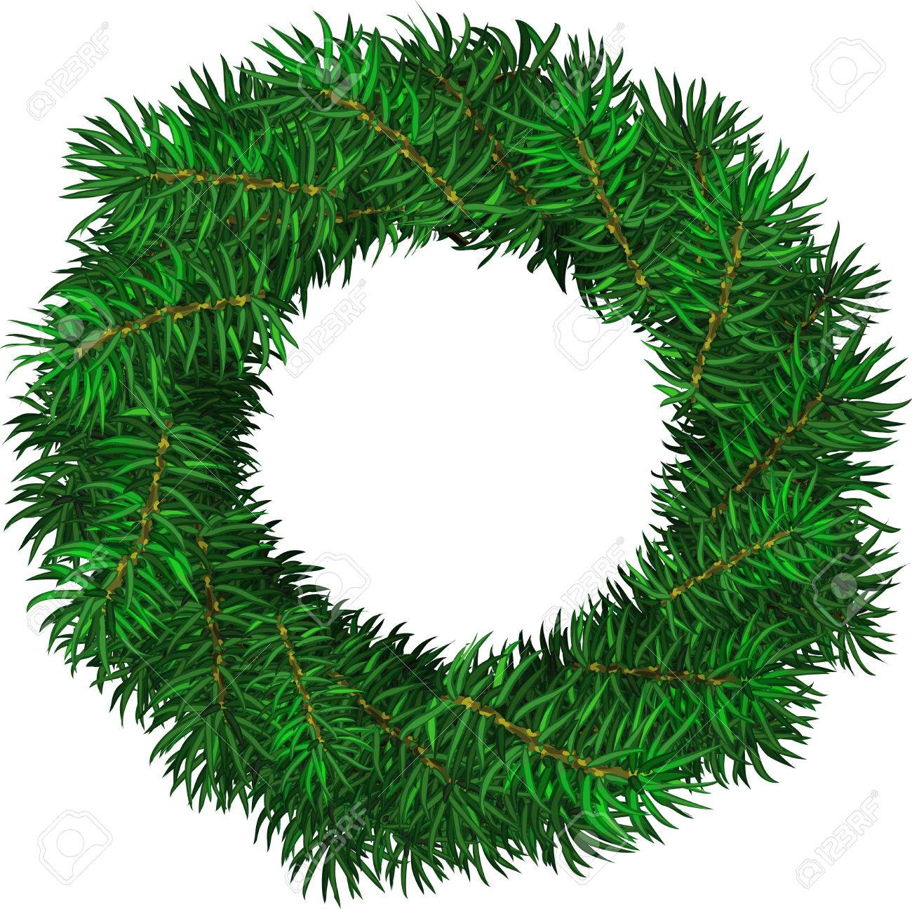 simple evergreen holiday wreath in circular shape vector isolated