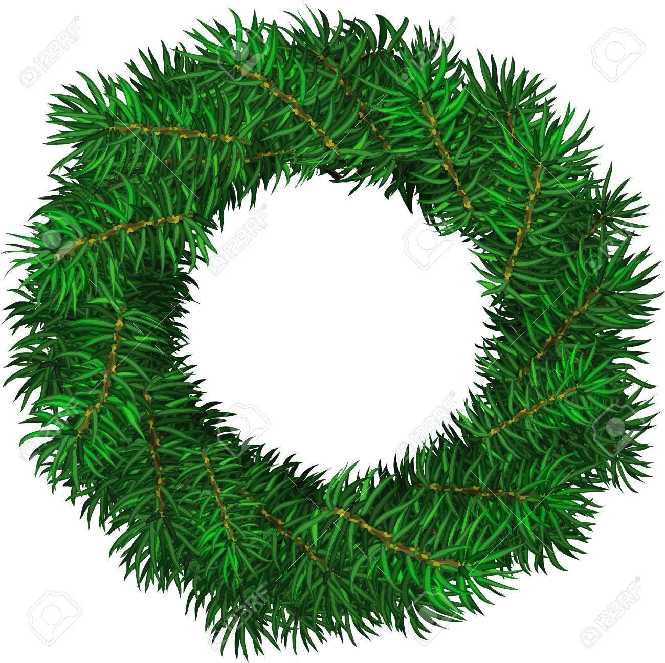 Simple Evergreen Holiday Wreath In Circular Shape Vector Isolated Rh 123rf Com Frame Clip Art