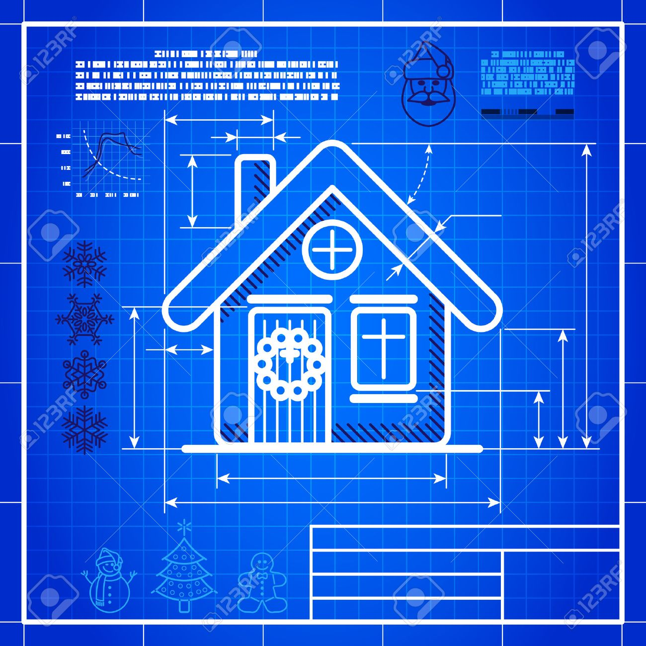 Christmas symbol stylized blueprint technical drawing white christmas symbol stylized blueprint technical drawing white symbol on blue grid background stock vector malvernweather Images