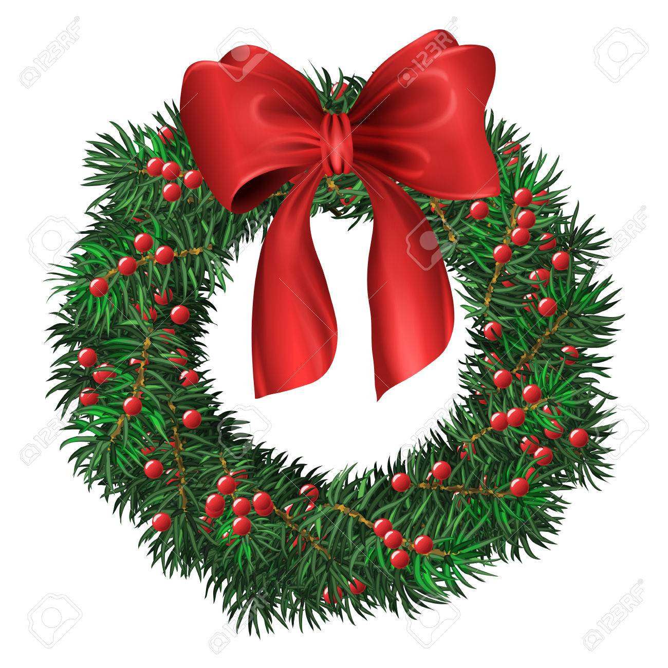 Evergreen Holiday Wreath With Red Bow And Berries In Circular Royalty Free Cliparts Vectors And Stock Illustration Image 47540665