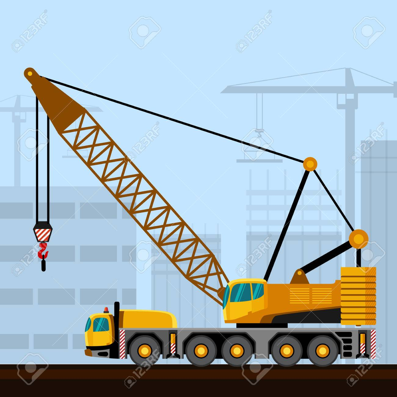 Truck mounted lattice boom with construction background  Side