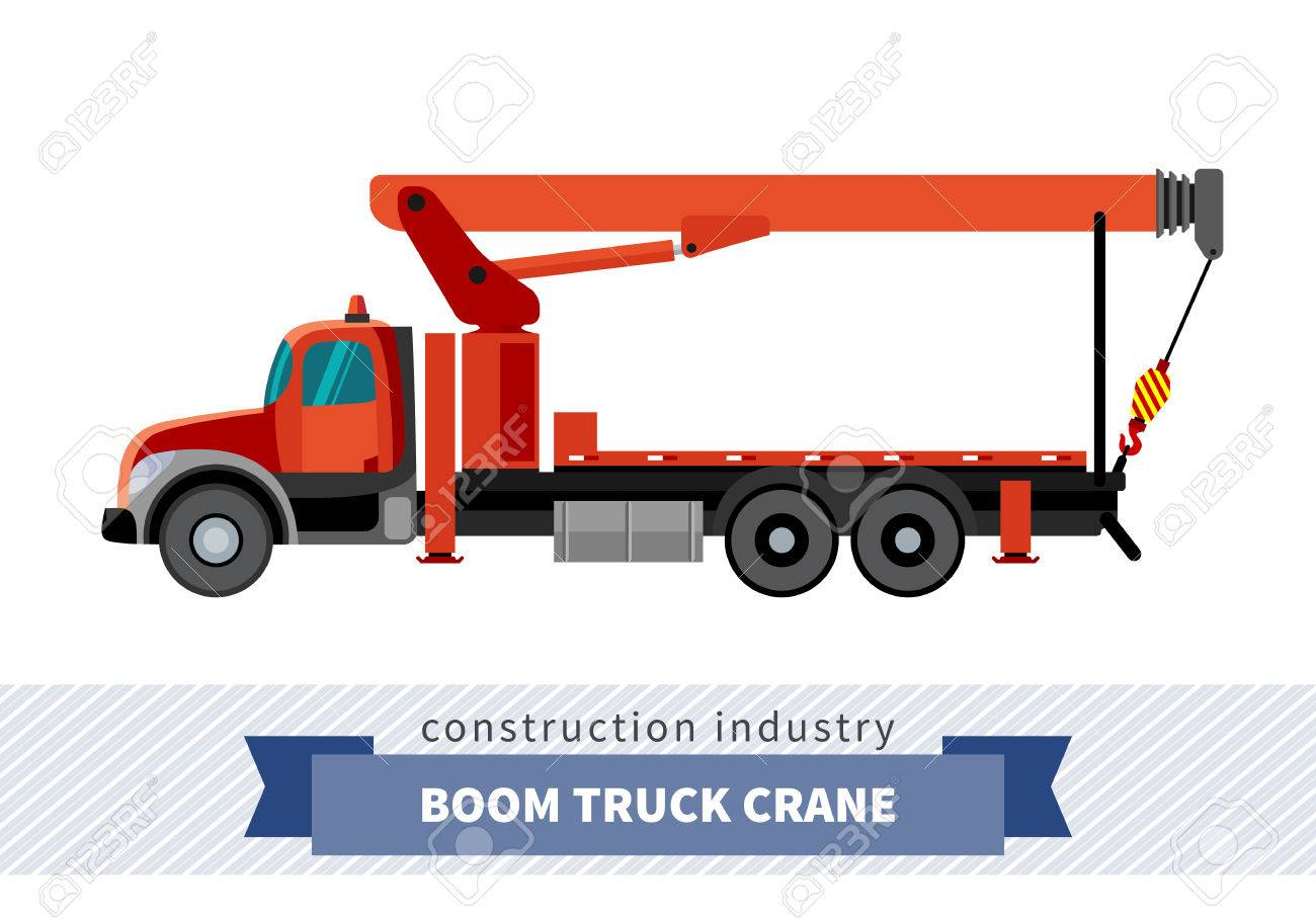Boom Truck Crane Mounted On Side View Mobile Isolated Vector Illustration Banque D