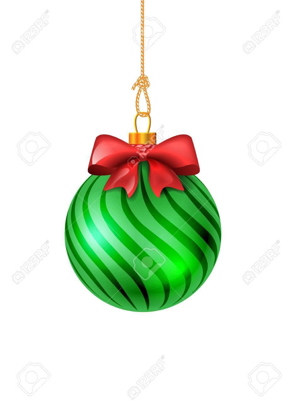 Boules De Noël. Boule Verte Avec Un Arc Rouge. Illustration Isolé