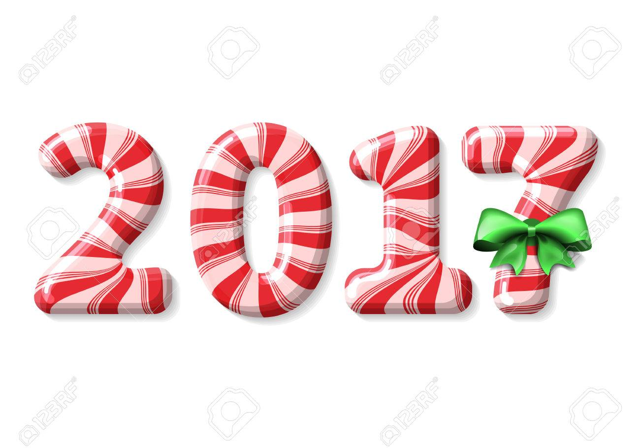 Candy Cane Numbers Of 2017 New Year Holiday Decorated With Green ...