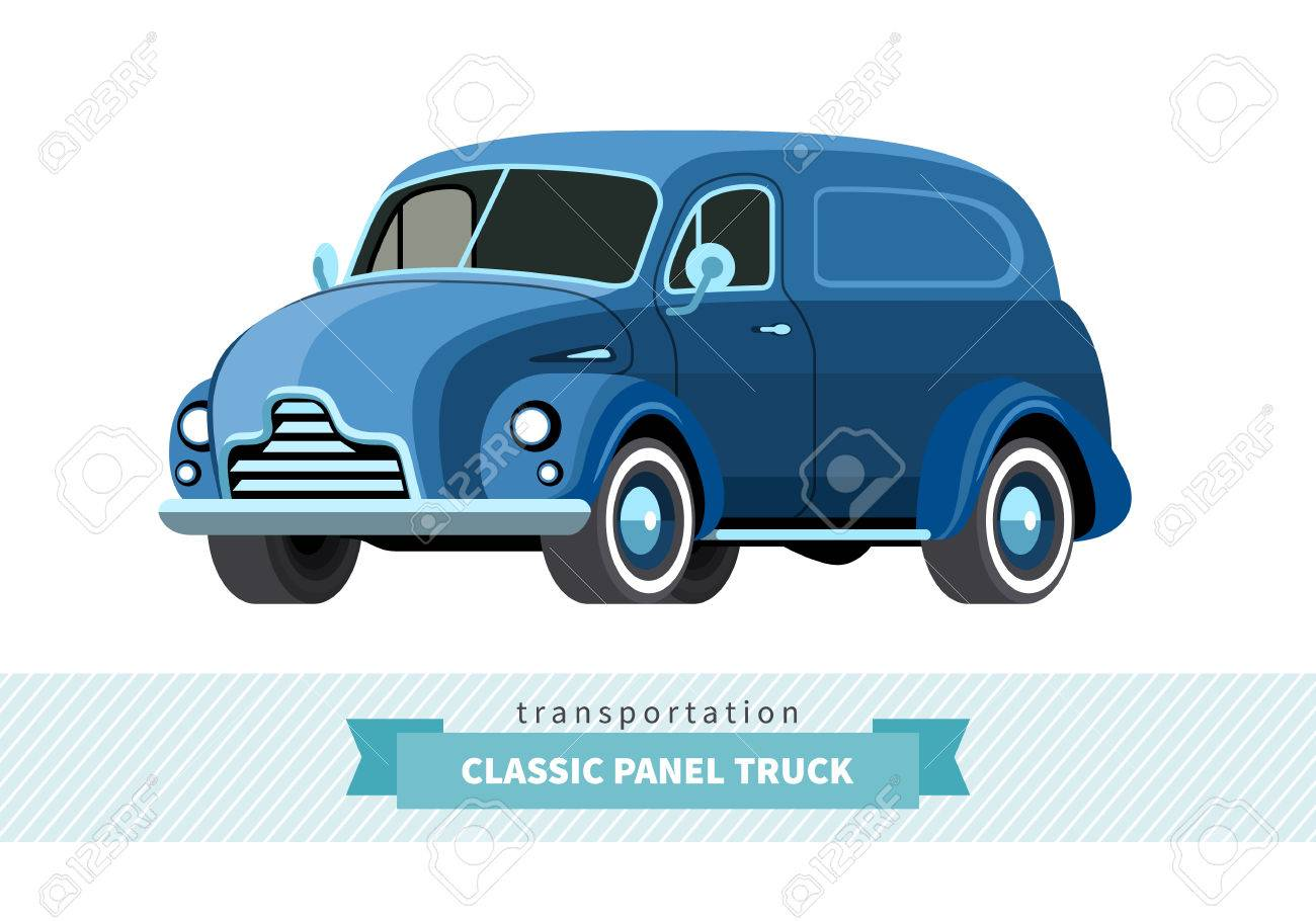 Classic Panel Truck Front Side View Wagon Vector Isolated Illustration Stock