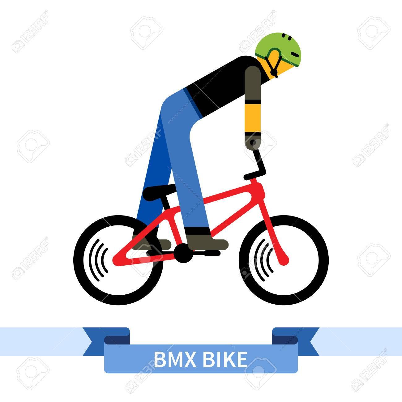 Cycliste Sur Bmx Velo Dessin De Clipart Simple Vue De Cote De