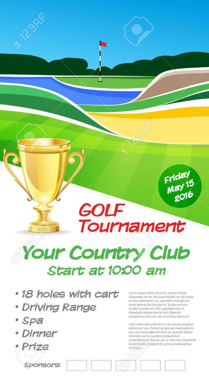 Golf Tournament Ticket Or Flyer Brochure Template Golf Course - Golf brochure template