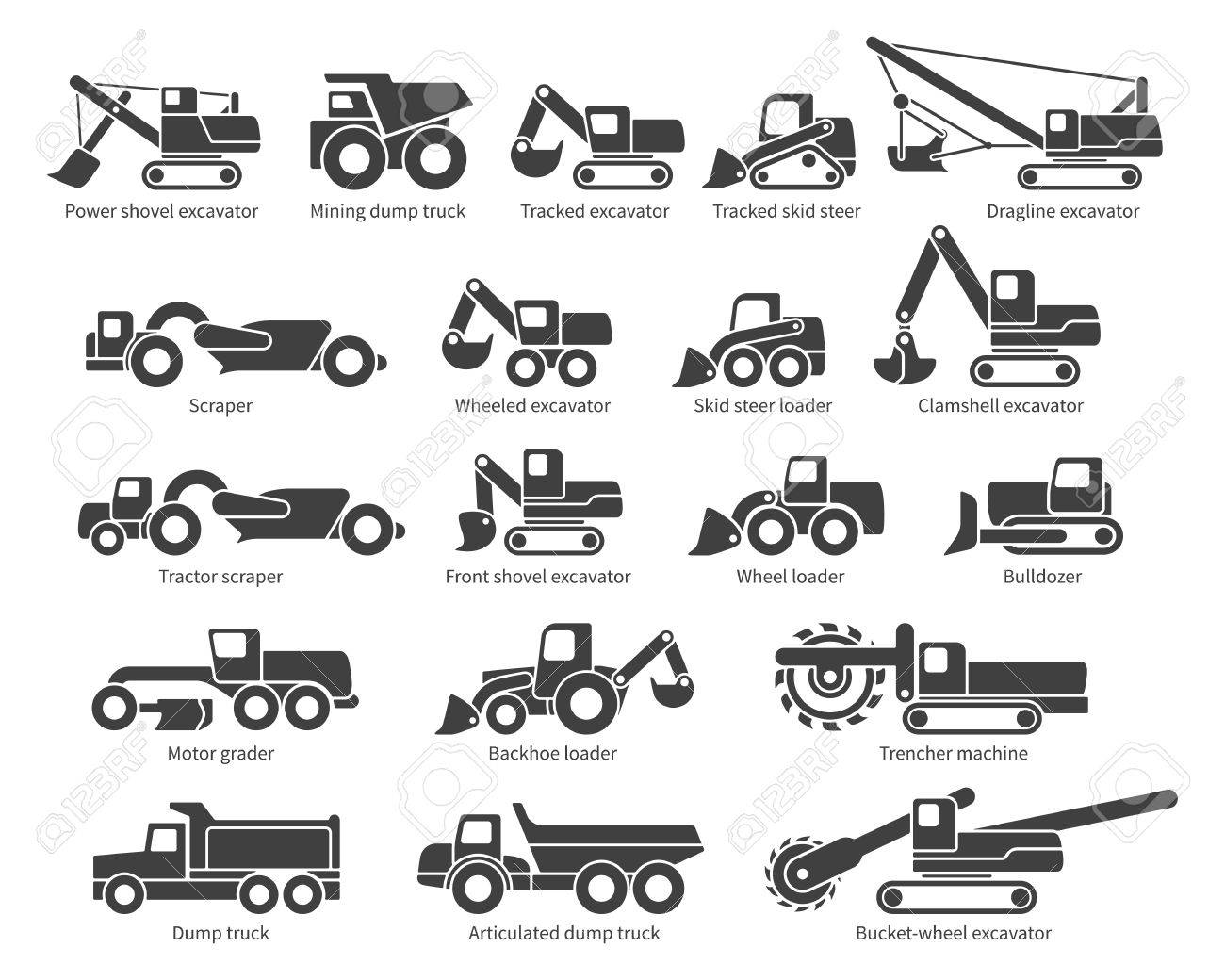 Construction Machinery Icons Set Each Icon With Text Label