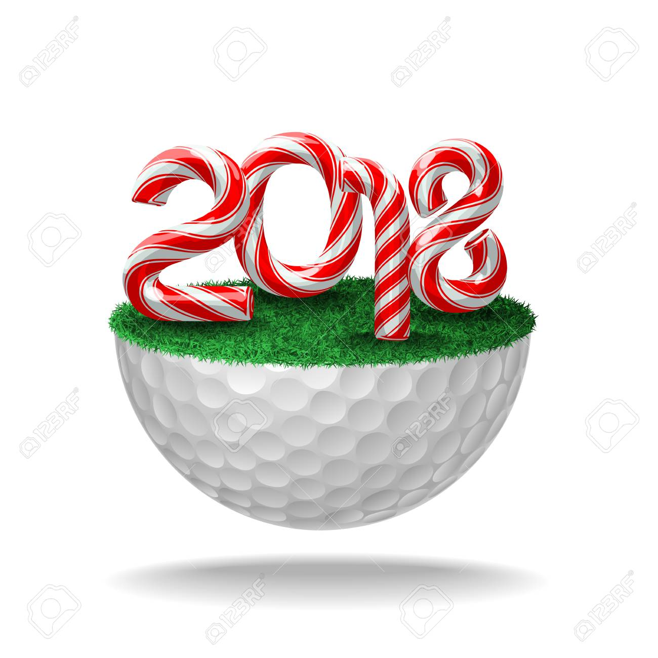 Candy Cane Numbers Of 2018 Holiday On Half Golf Ball With Grass ...