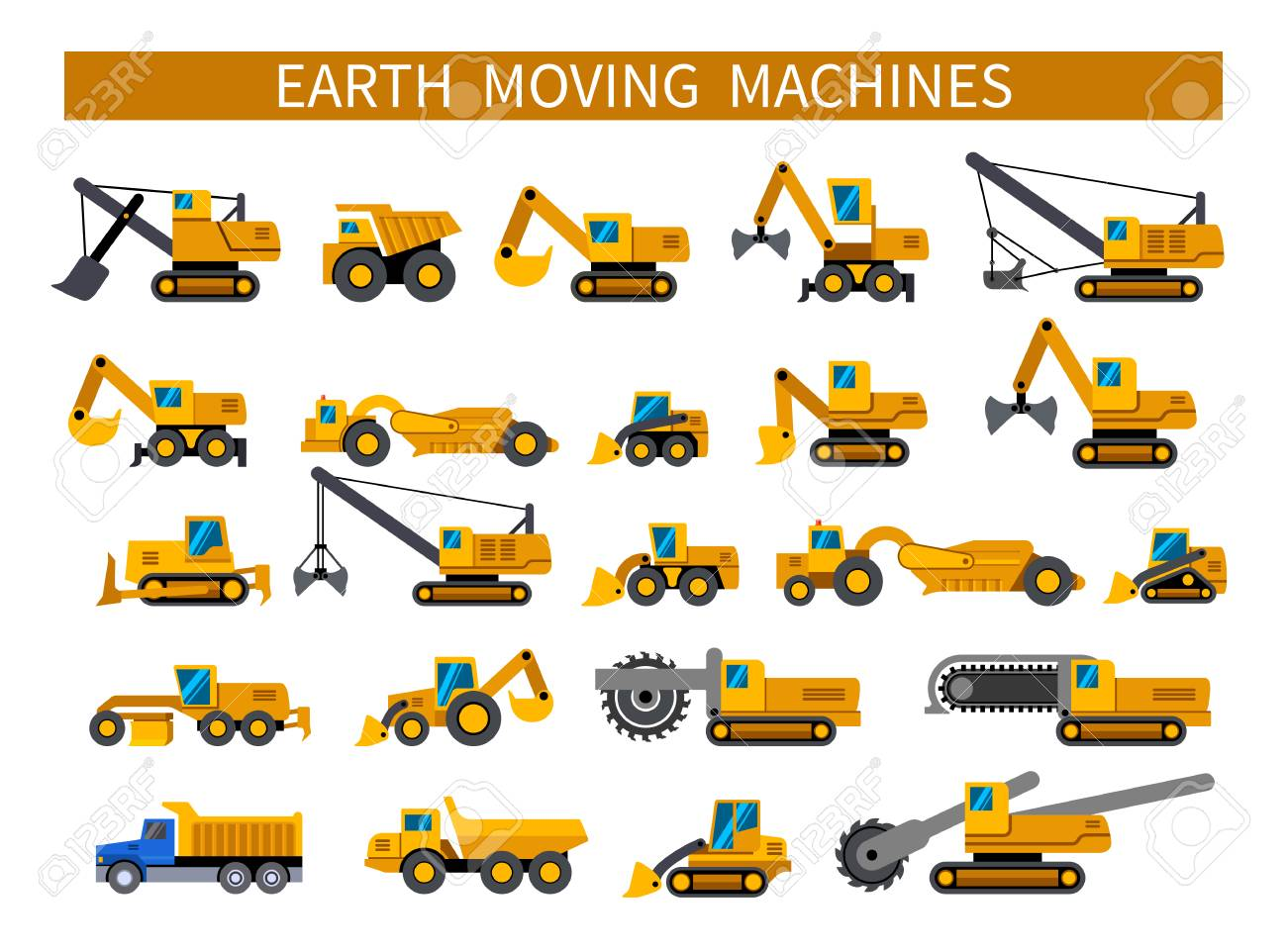 Earthmoving Machines Construction Machinery Icons Set Earth