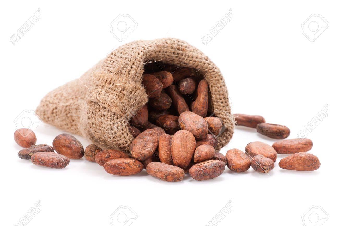Feves De Cacao Repande Au Dehors D Un Sac De Toile De Jute Faible
