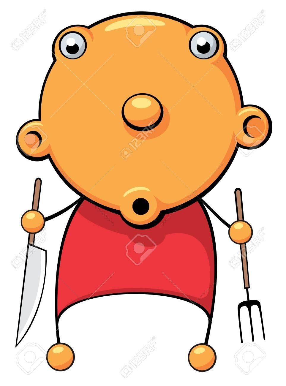 Messer und gabel clipart  Illustration Von Einem Hungrigen Baby Mit Messer Und Gabel In Der ...