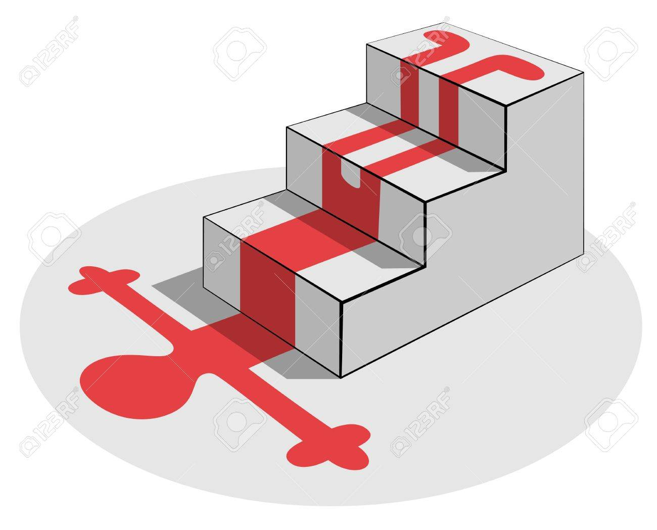 Fall from a staircase: red blood silhouette Stock Vector - 11601656