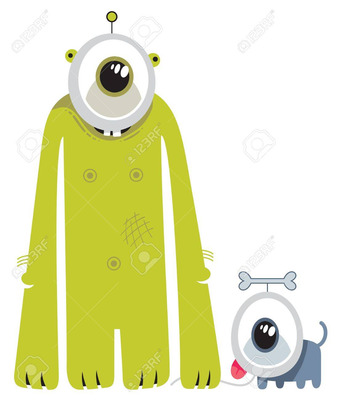 Figure of a green standing alien with an alien dog Stock Vector - 11601634