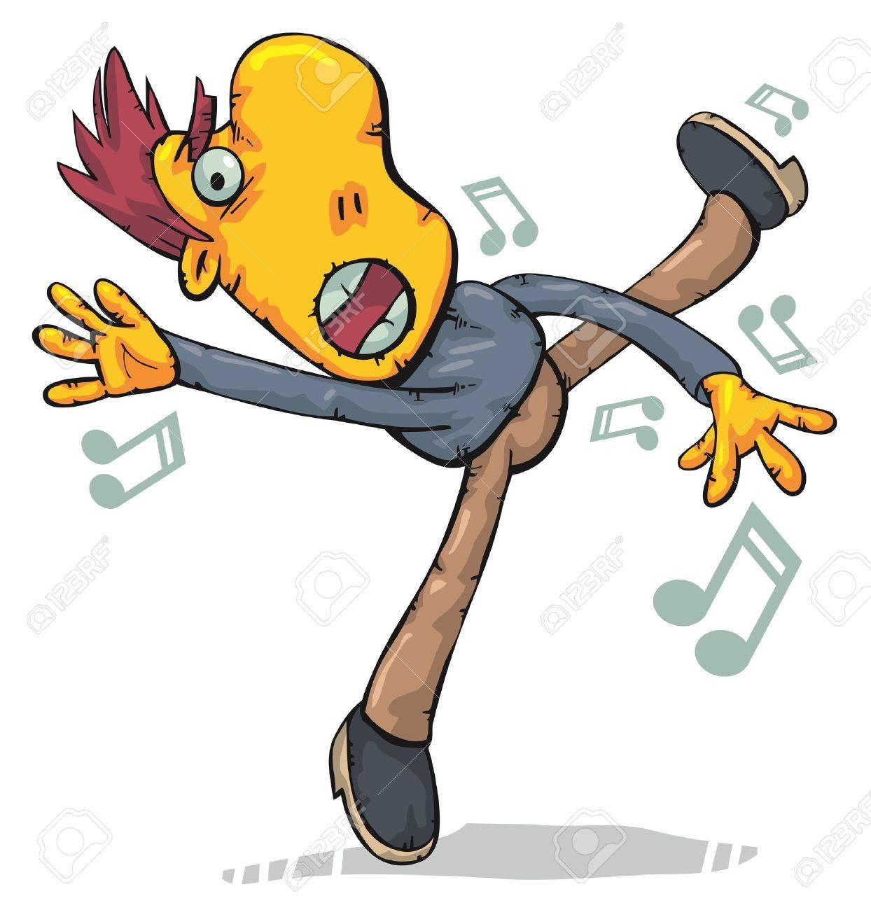 Funny man dancing like crazy and singing Stock Vector - 12486858