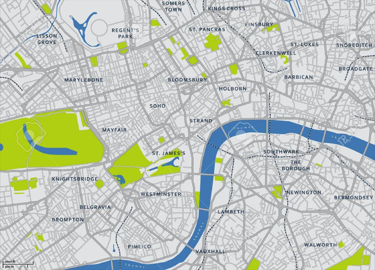 Areas Of Central London Map.Central London Vector Map