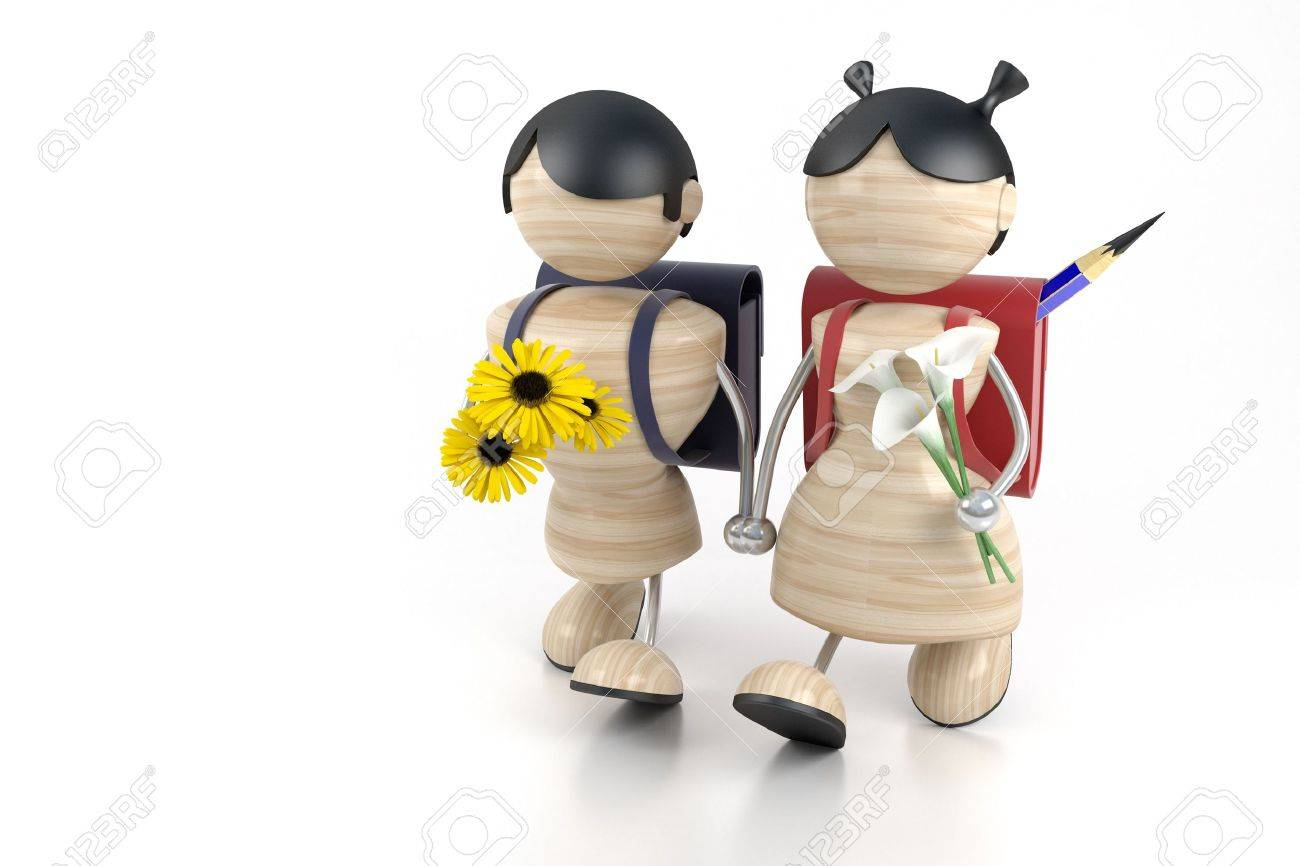 3d model boy and girl and yellow flowers. Stock Photo - 1343513