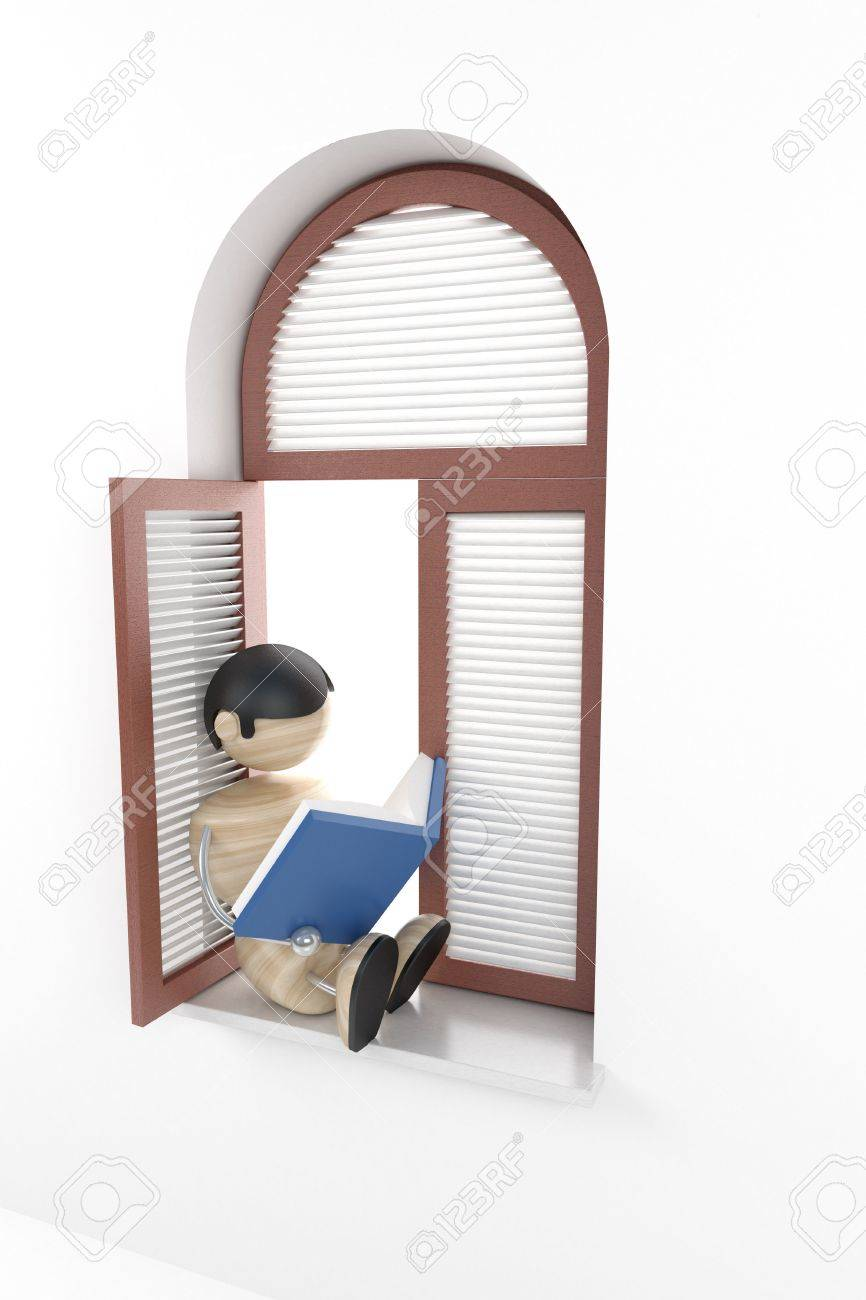 boy sit in window-sill and read book Stock Photo - 2331274