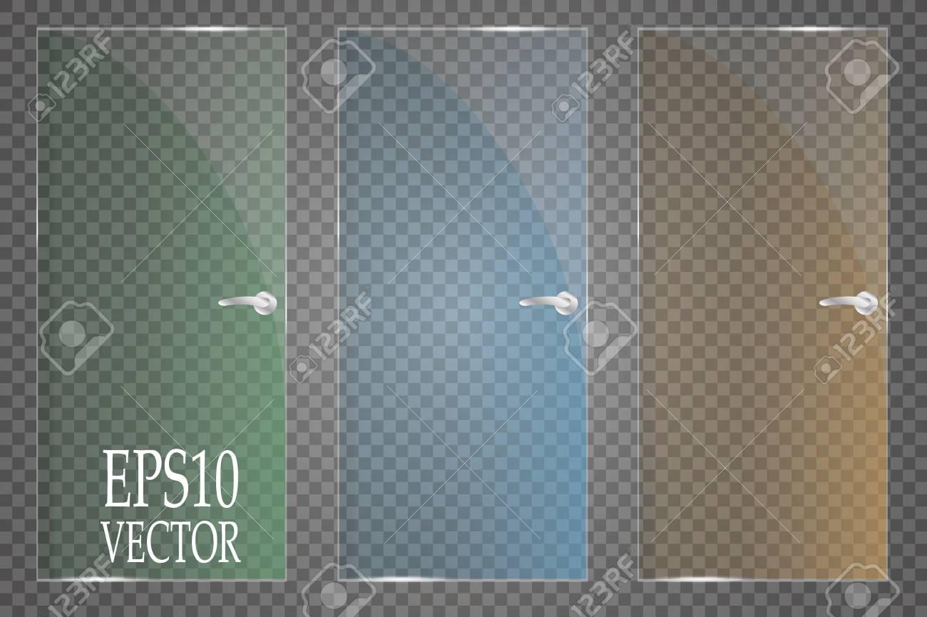Placas De Vidrio Están Instaladas Vector Pancartas De Vidrio Sobre ...