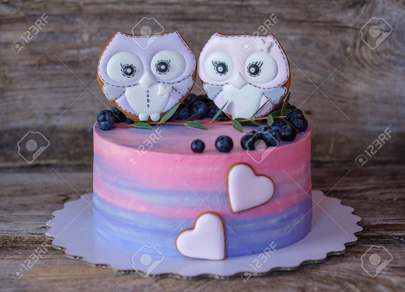Beautiful Homemade Cake With Pink And Blue Cheese Cream Decorated Gingerbread In The