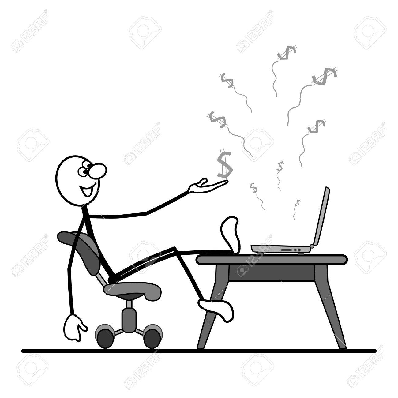 Man sitting in chair drawing - Man Sitting On A Chair On The Table Is A Computer Flying Dollars