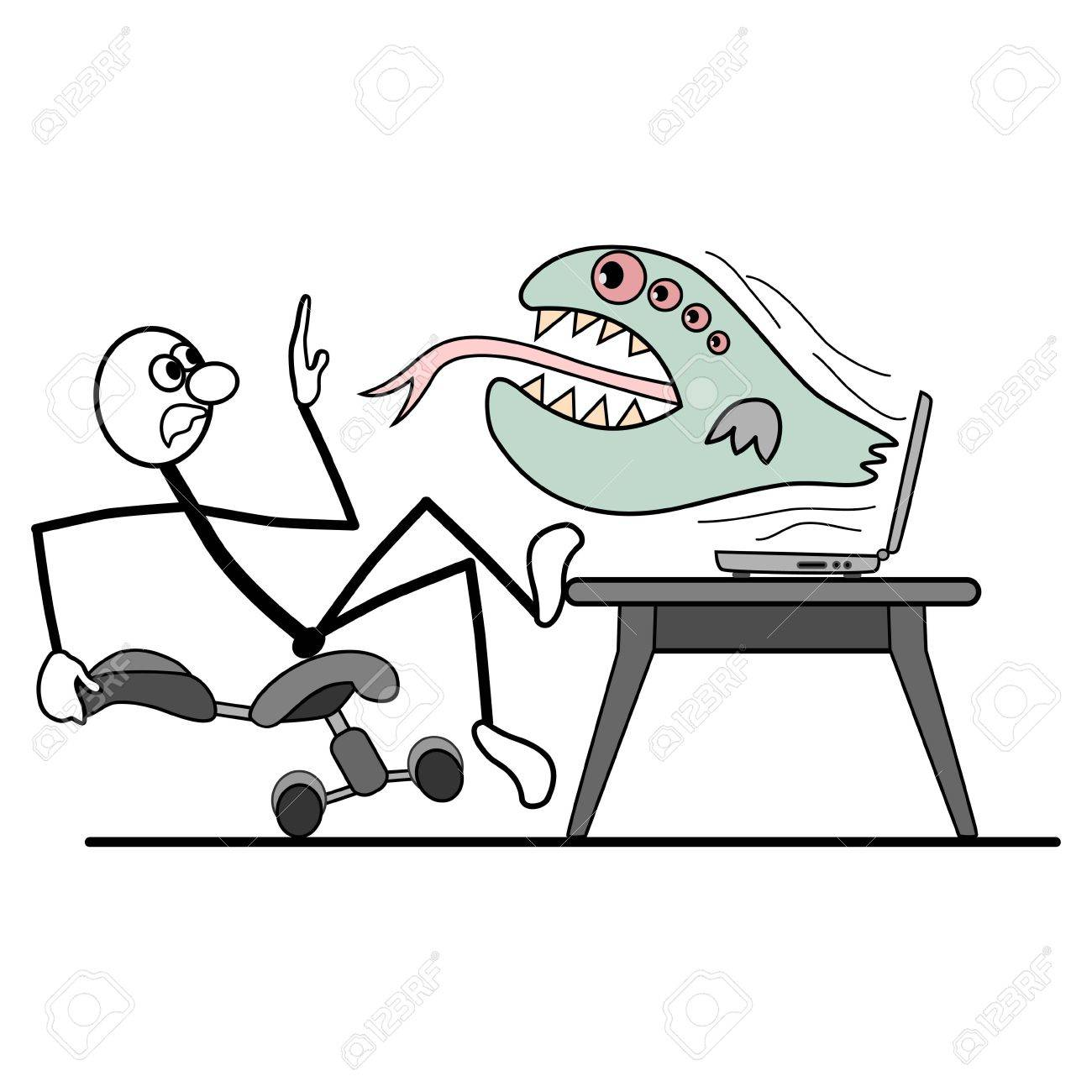 from computer crashes virus. man falls from his chair. Stock Vector - 15053435