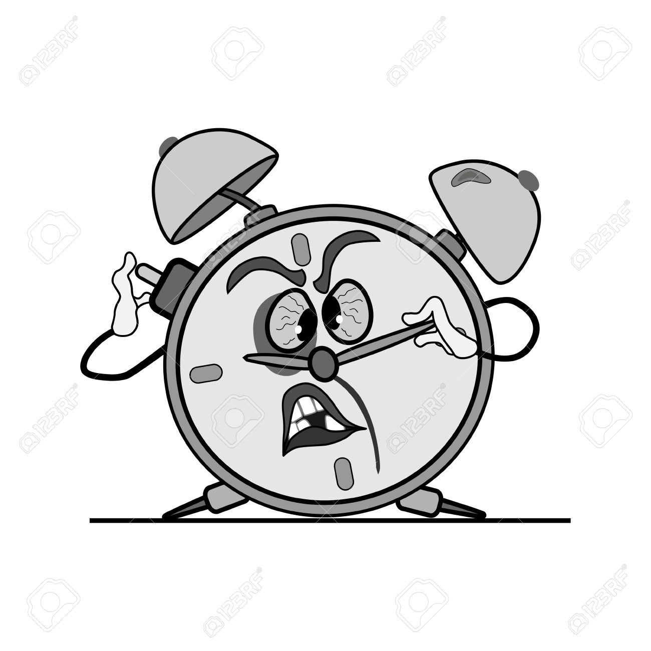 battered alarm clock is on crooked legs. trying to push the button. Stock Vector - 16429543