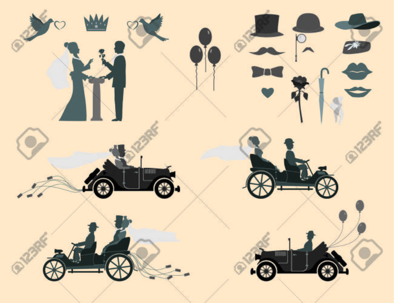 Set Of Wedding Invitations On The Vintage Cars And Sports Cars