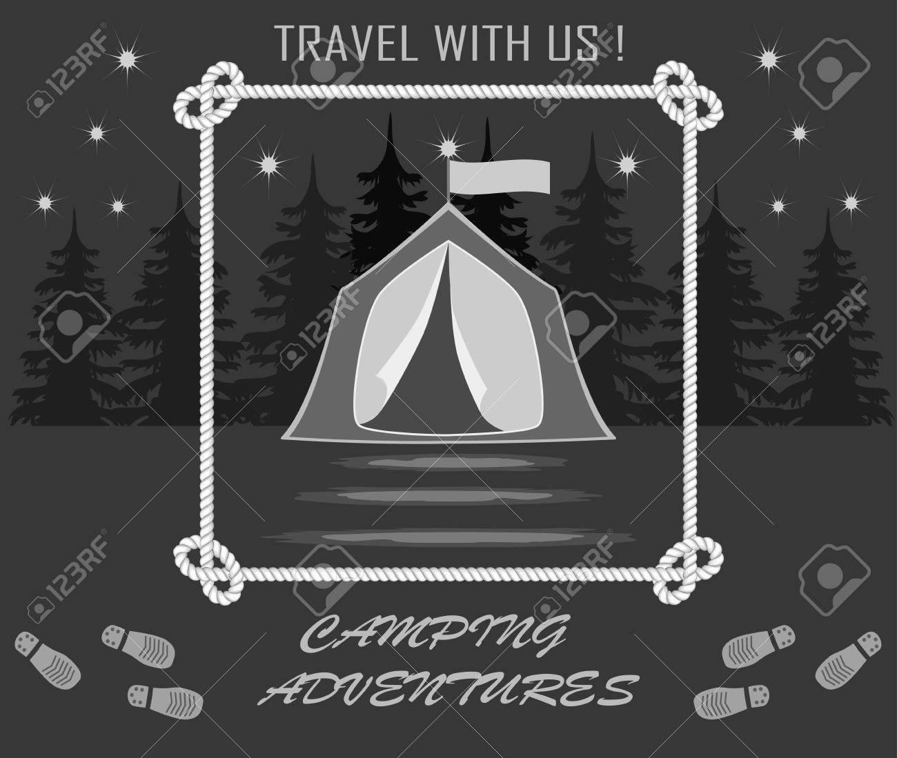 Zelte Für Camping In Einem Wald Und Einer Reihe Von Spuren Von ...