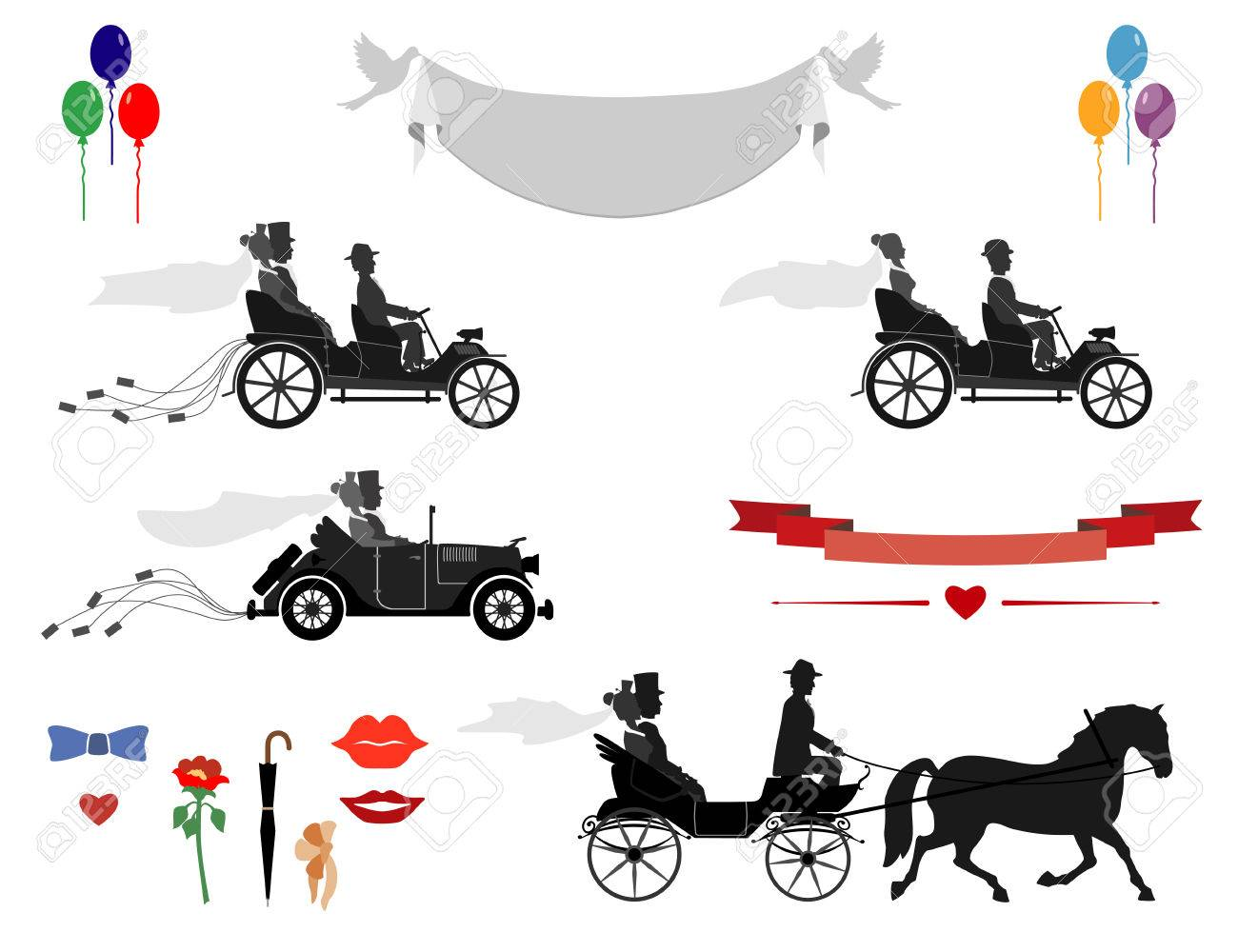 Set Of Wedding Invitations Vintage Cars And Sports Cars Horse