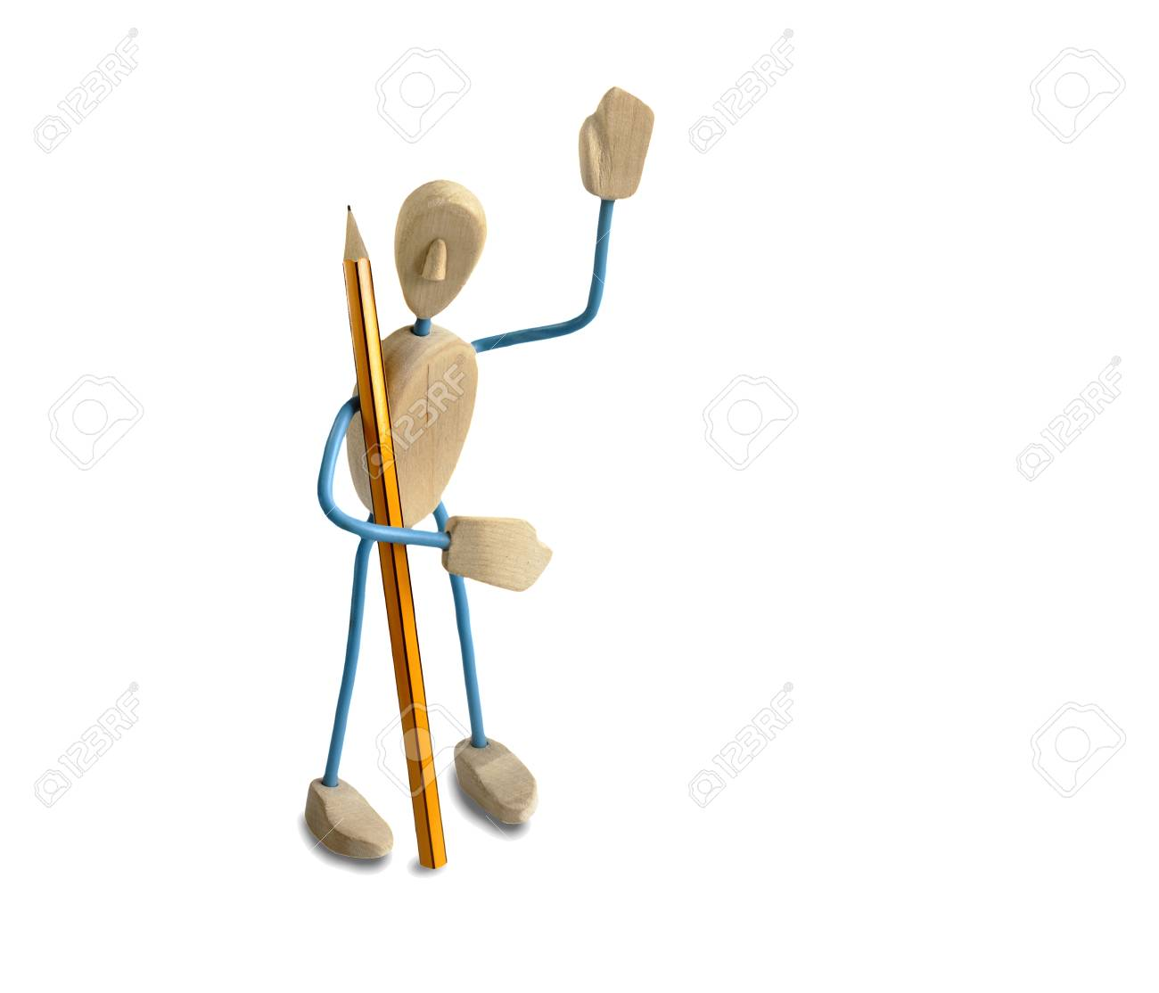 Spielzeug Aus Holz Von Einem Mann In Der Form. Auf Einem Weißen ...
