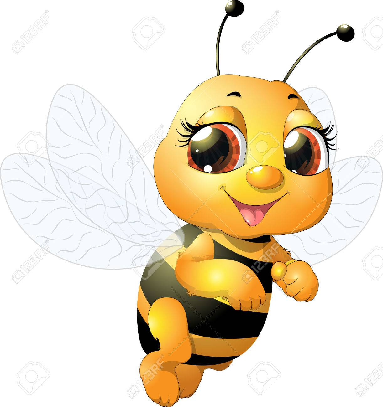 beautiful bee which narisovana on white background - 34654625