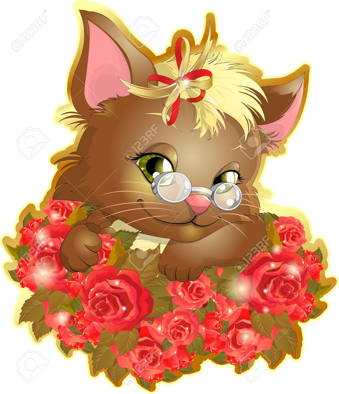 Beautiful Kitten With A Bouquet Of Beautiful Flowers Roses Royalty ...