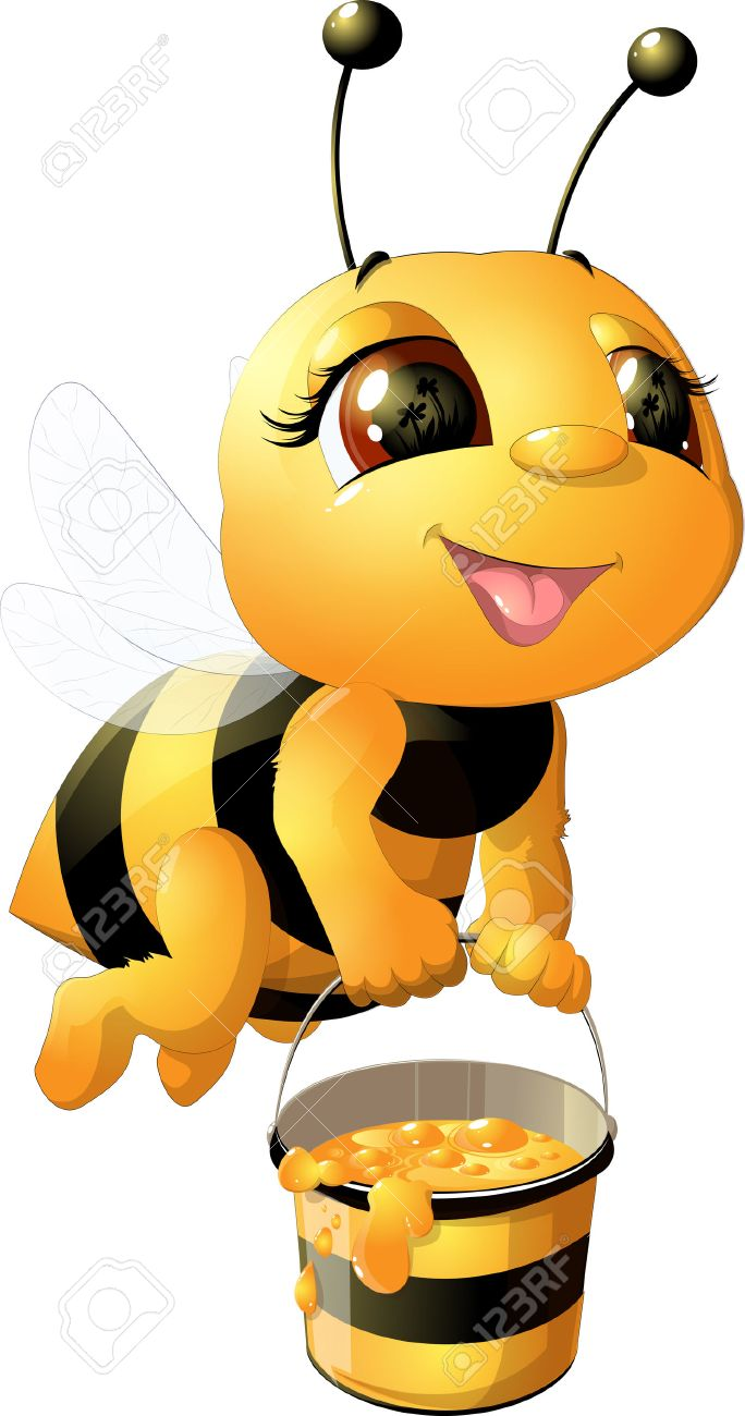 Funny Bee Painted On A White Background Royalty Free Cliparts