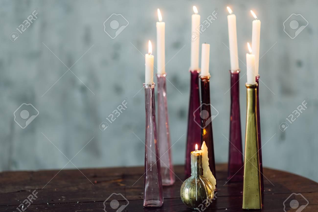 Velas En Candeleros De Vidrio Decoracion Para Las Vacaciones Fotos - Vidrio-decoracion