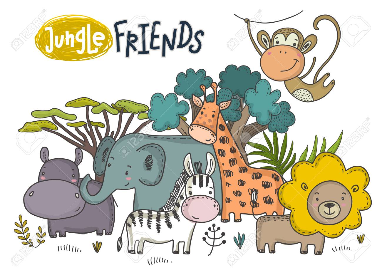 Vector illustration of cartoon African animals. Colorful jungle hand drawn lion, hippo, giraffe, rhino, monkey, sloth, zebra and tropical trees on white background - 121096367