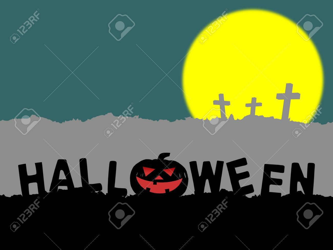 silhouette of word halloween with halloween pumpkin jack o lantern