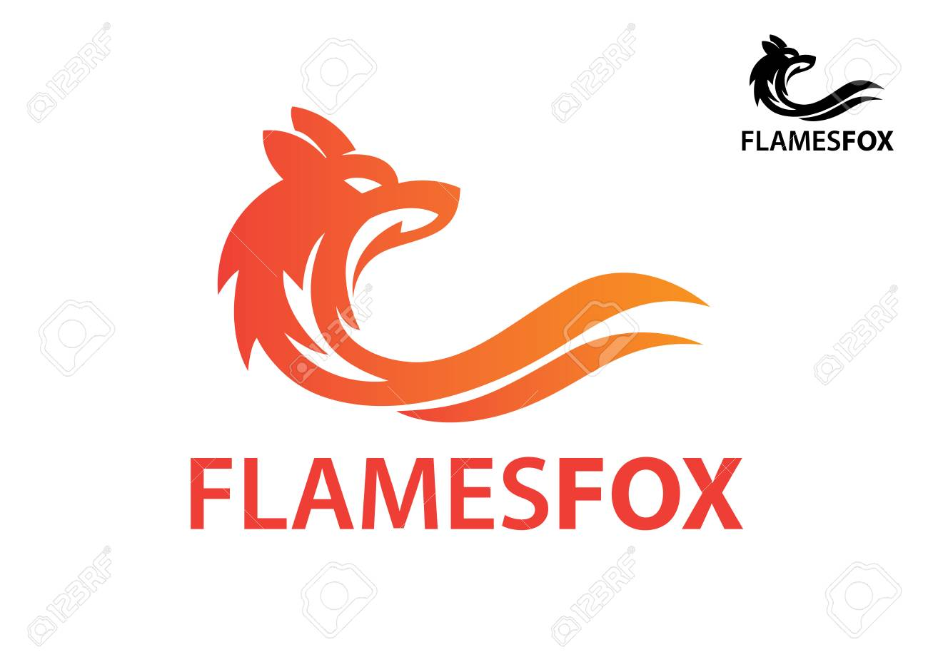 wolf fox elegant head silhouette logo with swirl