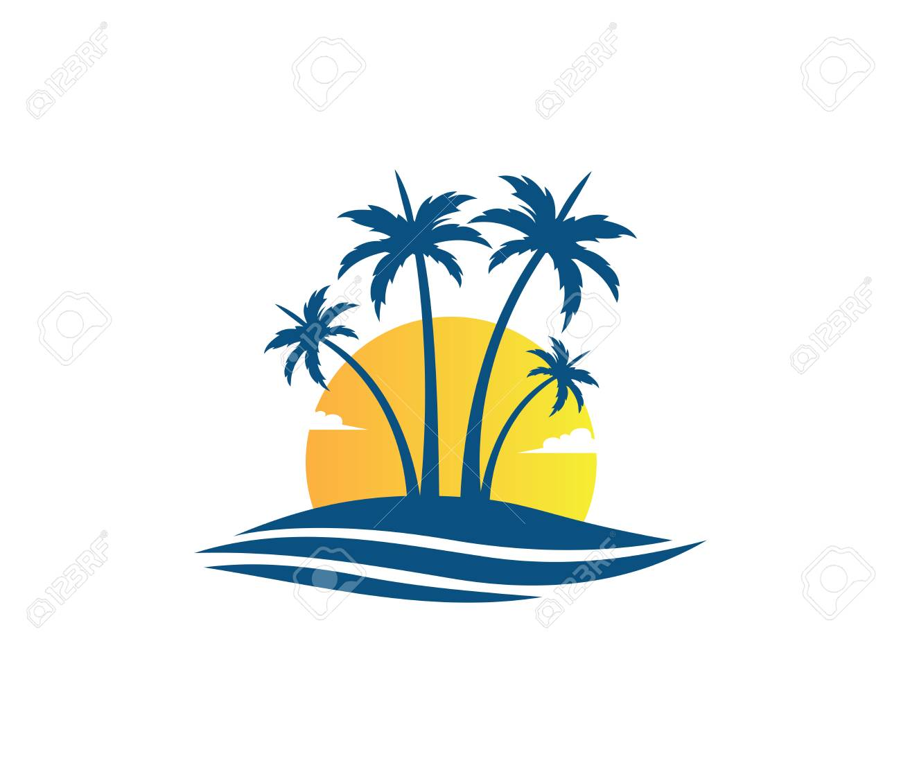 sun beach ocean wave palm coconut tree vector logo design royalty rh 123rf com palm tree free vector silhouette palm tree vectors free download