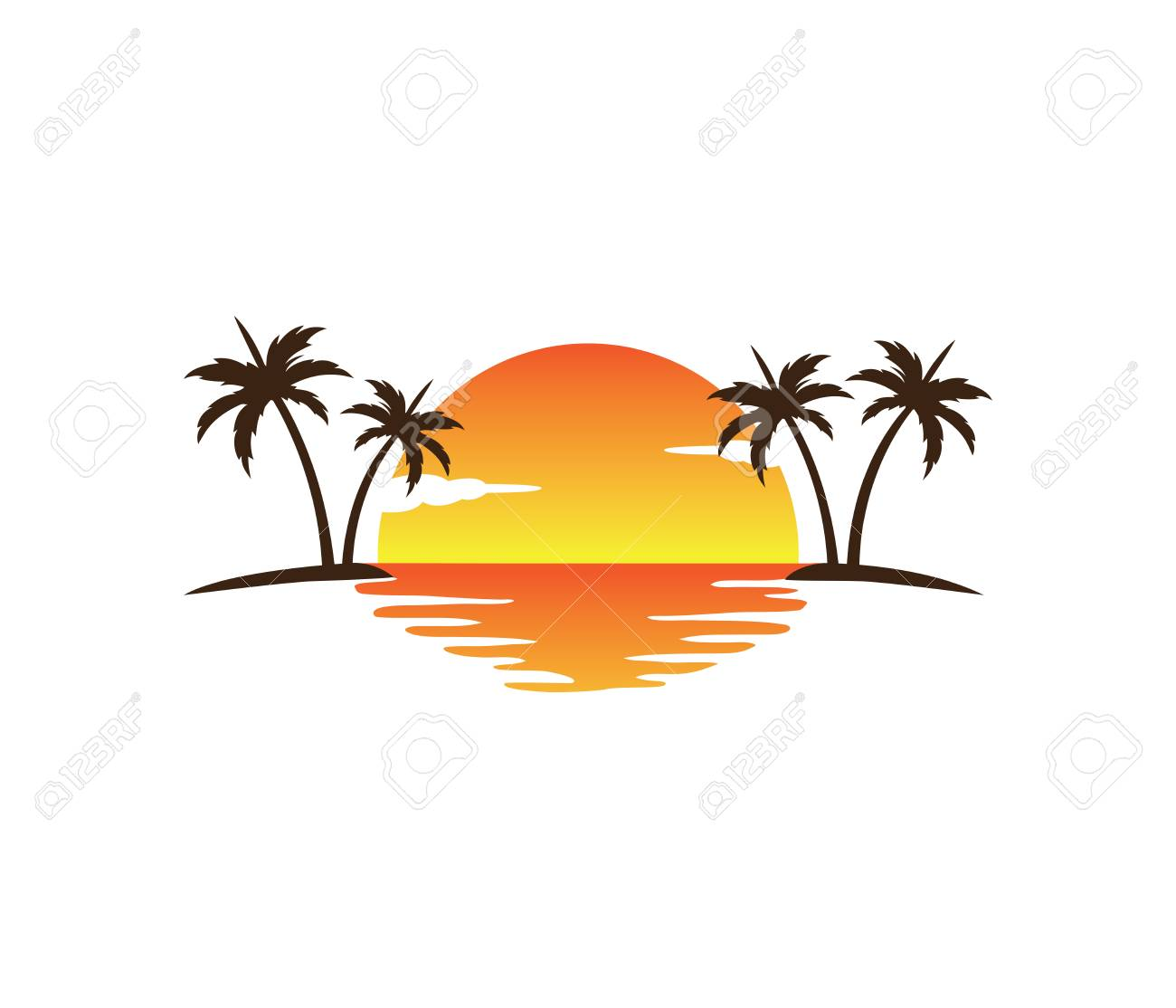 sunset palm coconut tree beach vector logo design royalty free rh 123rf com