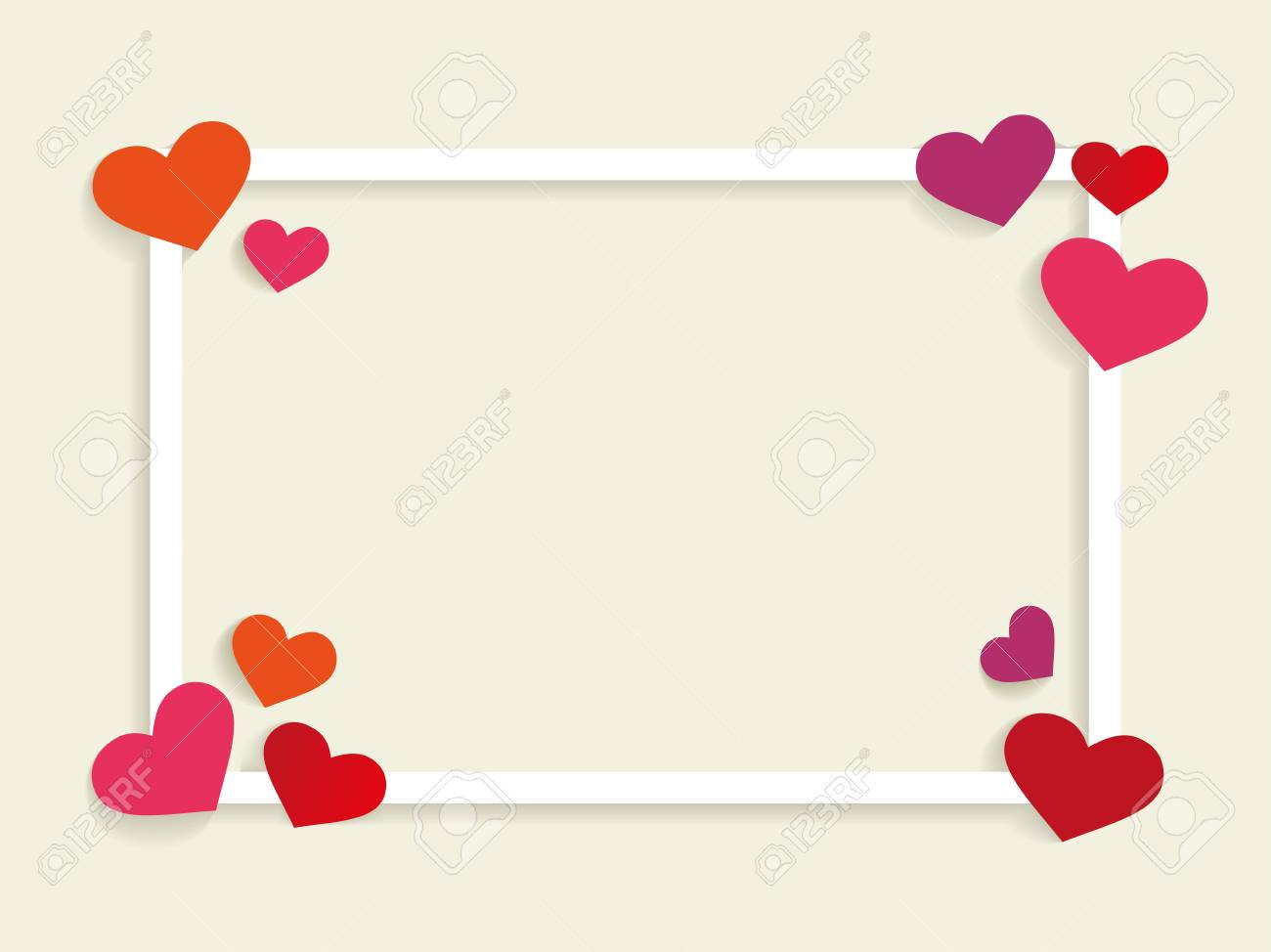 square frame with heart shape in corner with valentine theme
