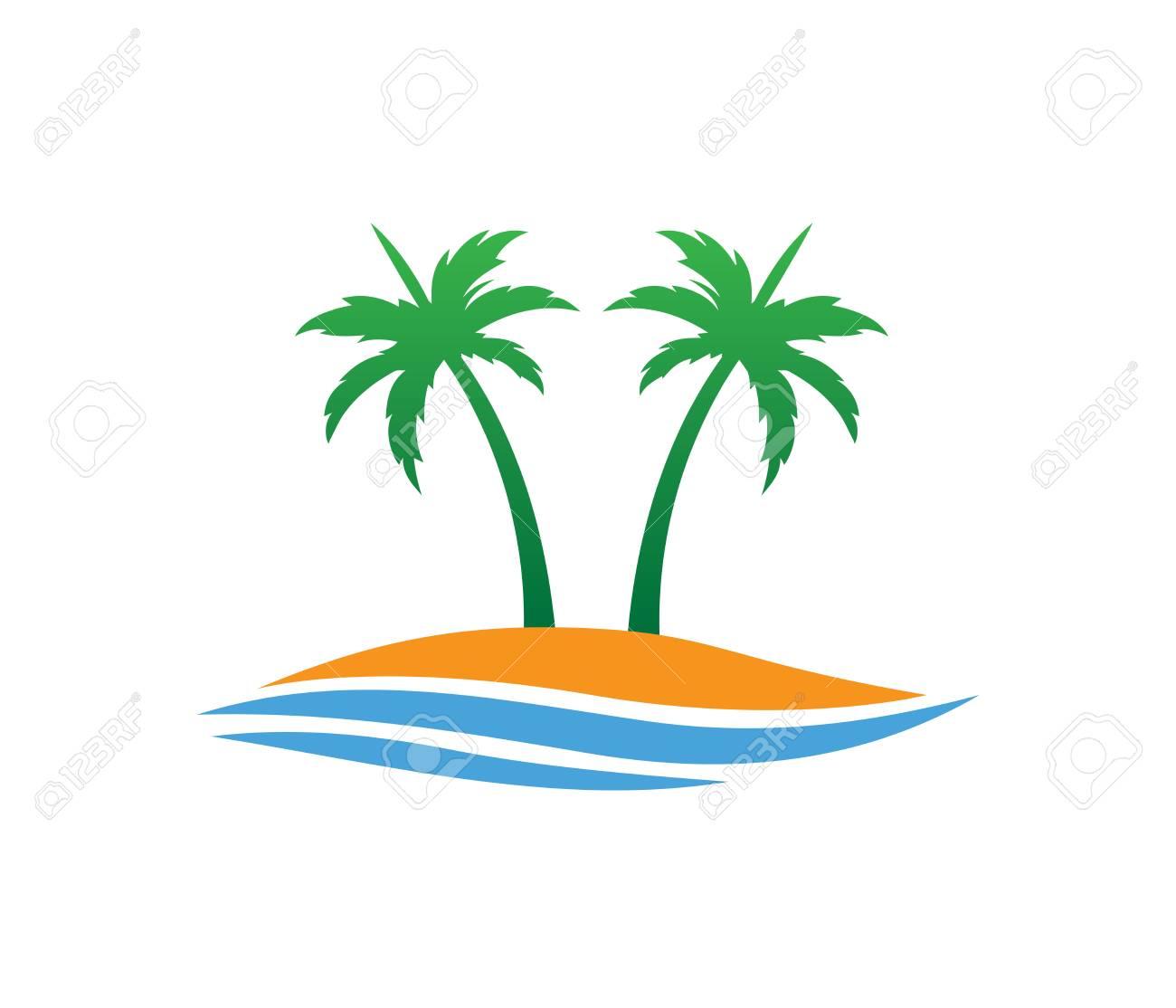 hotel tourism holiday summer beach coconut palm tree vector logo rh 123rf com palm tree vector freepik free palm tree vector art