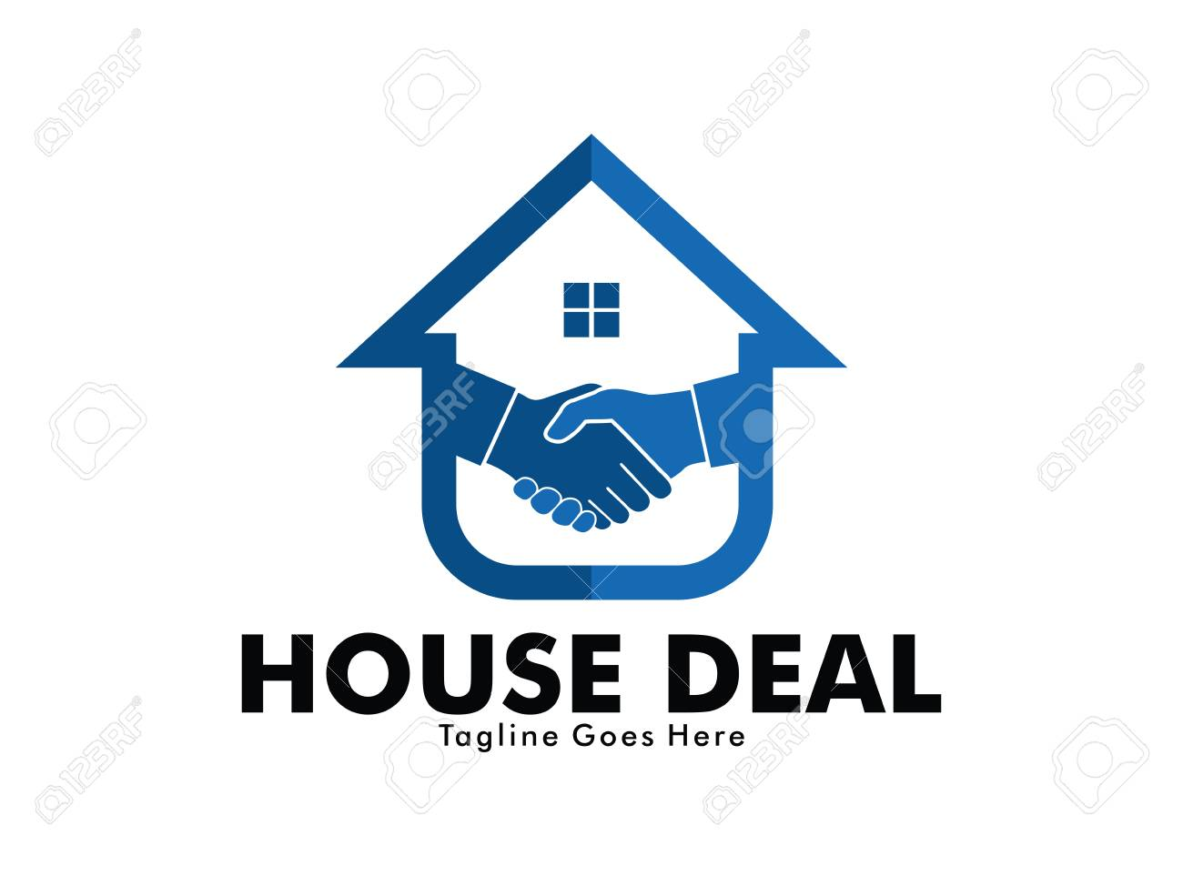 house and property dealer with handshake marketing vector logo design of mortgage, home stay project - 95728051